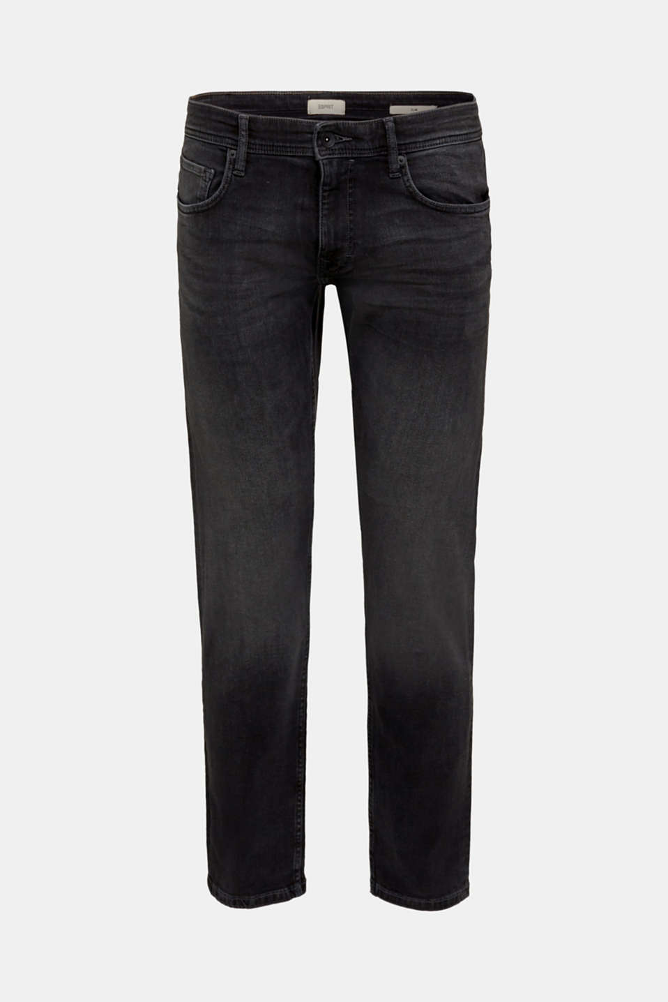Super stretchy jeans with a washed-out finish, BLACK DARK WASH, detail image number 6