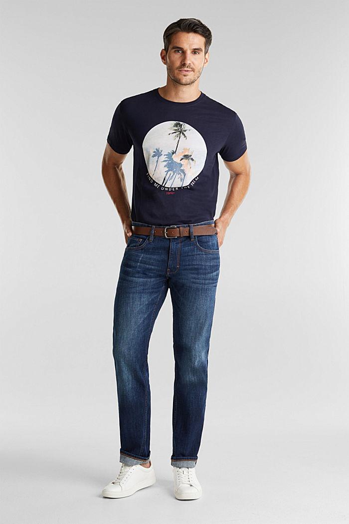 Aus Organic Cotton: Jeans mit Gürtel, BLUE DARK WASHED, detail image number 2