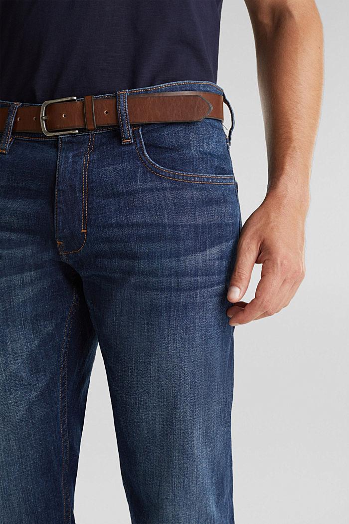 Aus Organic Cotton: Jeans mit Gürtel, BLUE DARK WASHED, detail image number 3