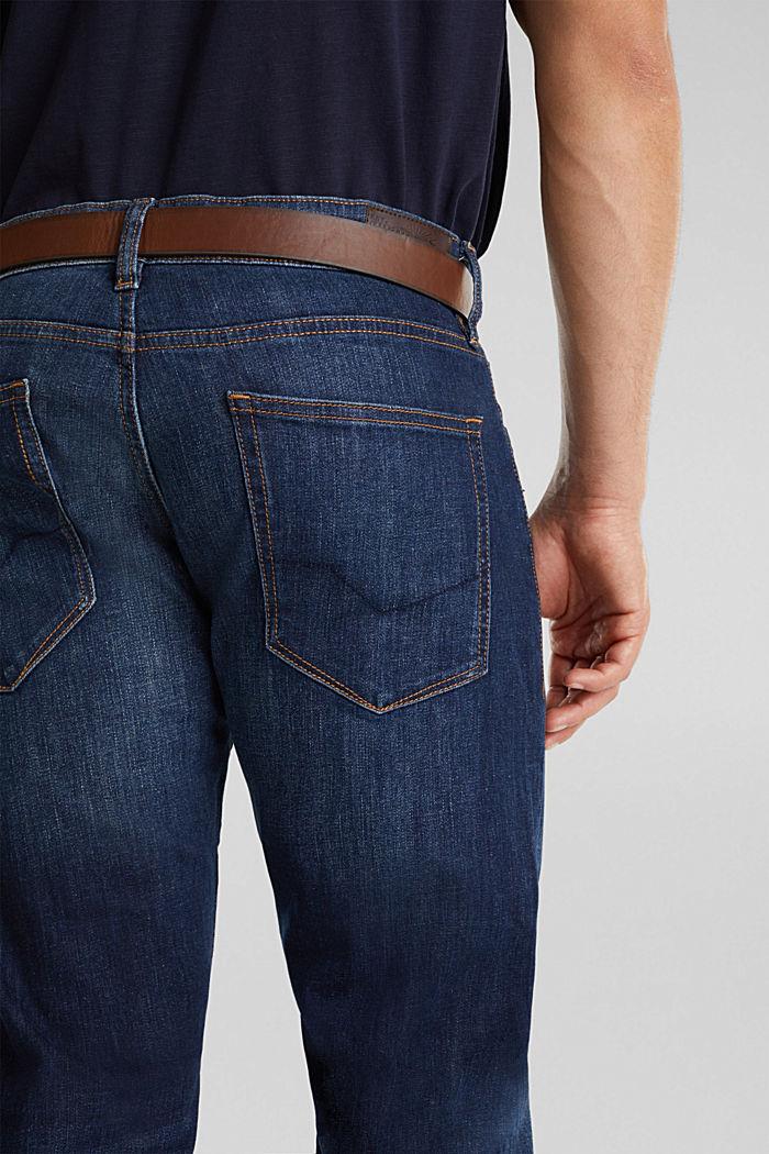 Aus Organic Cotton: Jeans mit Gürtel, BLUE DARK WASHED, detail image number 5