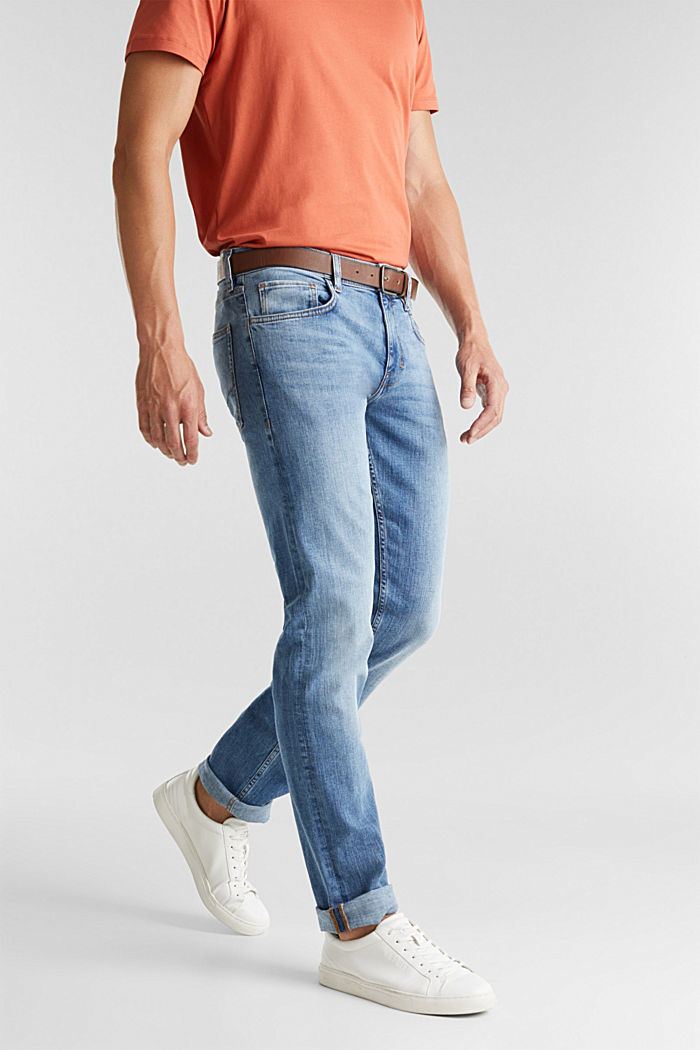 Made of organic cotton: Jeans with a belt, BLUE LIGHT WASHED, detail image number 0