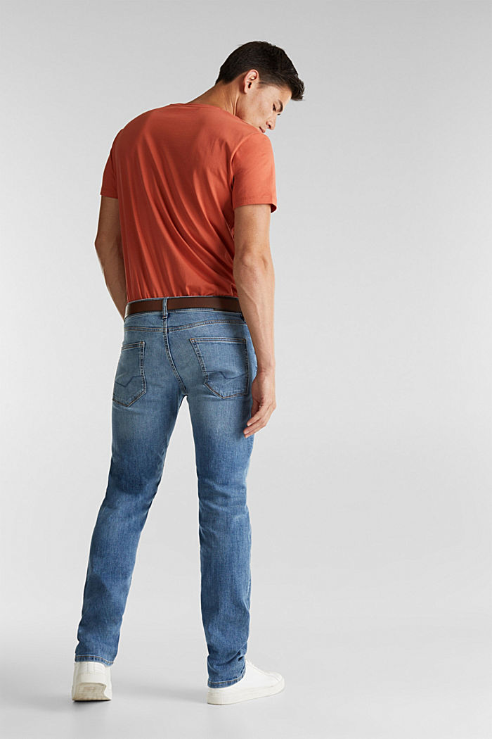 Made of organic cotton: Jeans with a belt, BLUE LIGHT WASHED, detail image number 1