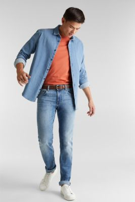 Made of organic cotton: Jeans with a belt, BLUE LIGHT WASH, detail