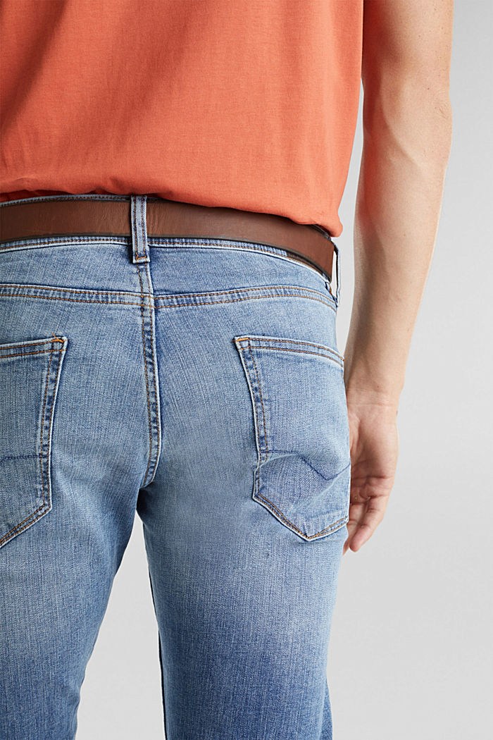 Made of organic cotton: Jeans with a belt, BLUE LIGHT WASHED, detail image number 5