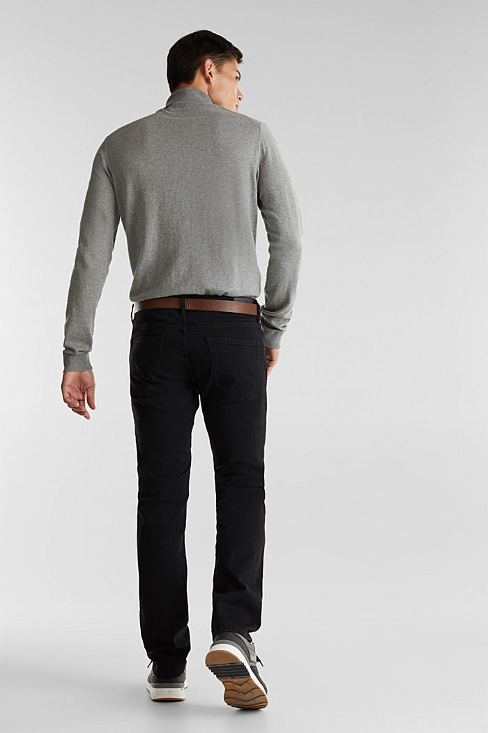 Made of organic cotton: Jeans with a belt, BLACK RINSE, detail image number 1