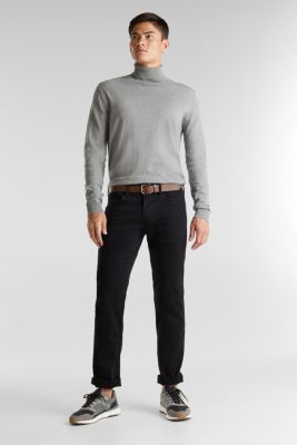 Made of organic cotton: Jeans with a belt, BLACK RINSE, detail