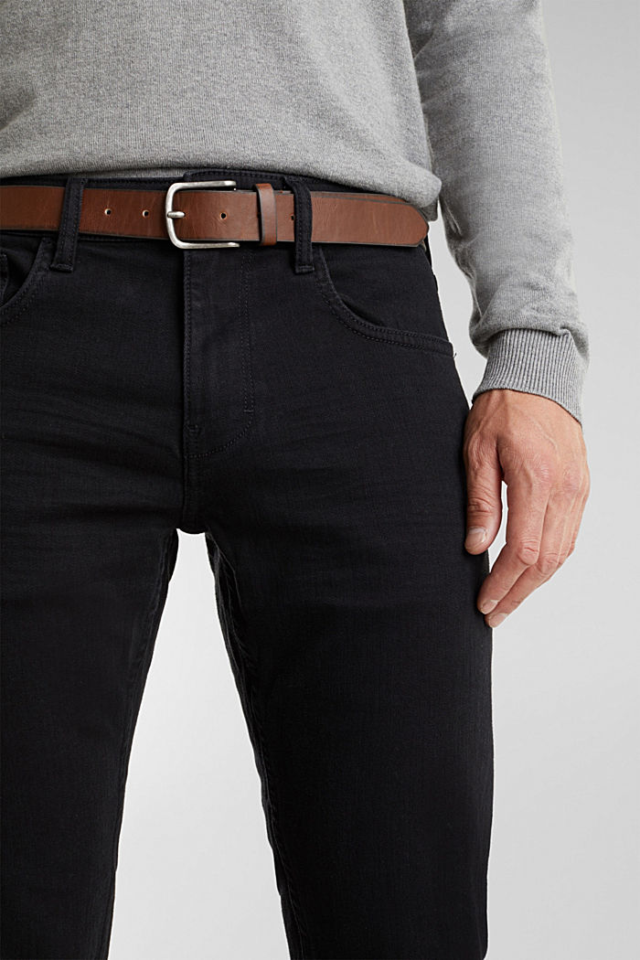 Made of organic cotton: Jeans with a belt, BLACK RINSE, detail image number 3
