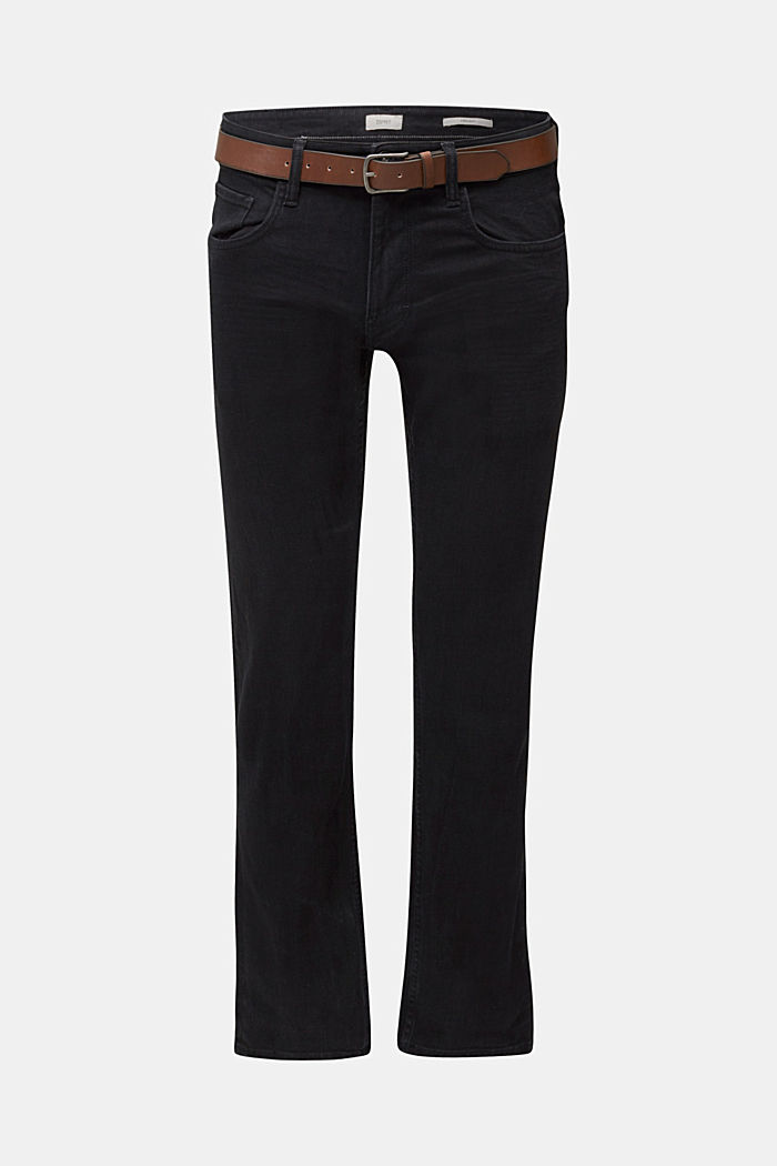 Made of organic cotton: Jeans with a belt, BLACK RINSE, detail image number 6