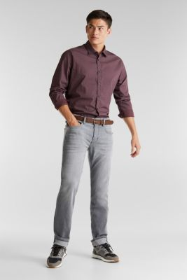 Made of organic cotton: Jeans with a belt, GREY MEDIUM WASH, detail