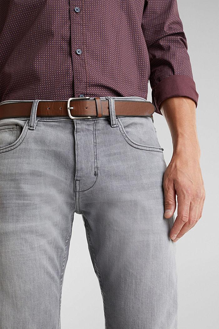 Van organic cotton: jeans met riem, GREY MEDIUM WASHED, detail image number 3
