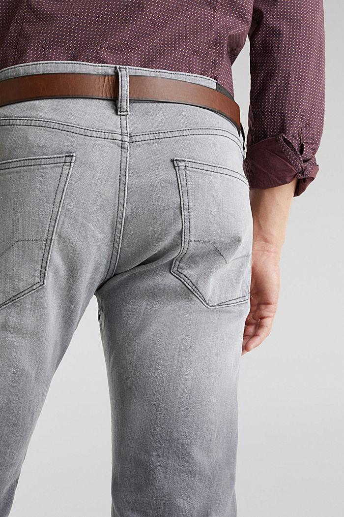 Van organic cotton: jeans met riem, GREY MEDIUM WASHED, detail image number 5