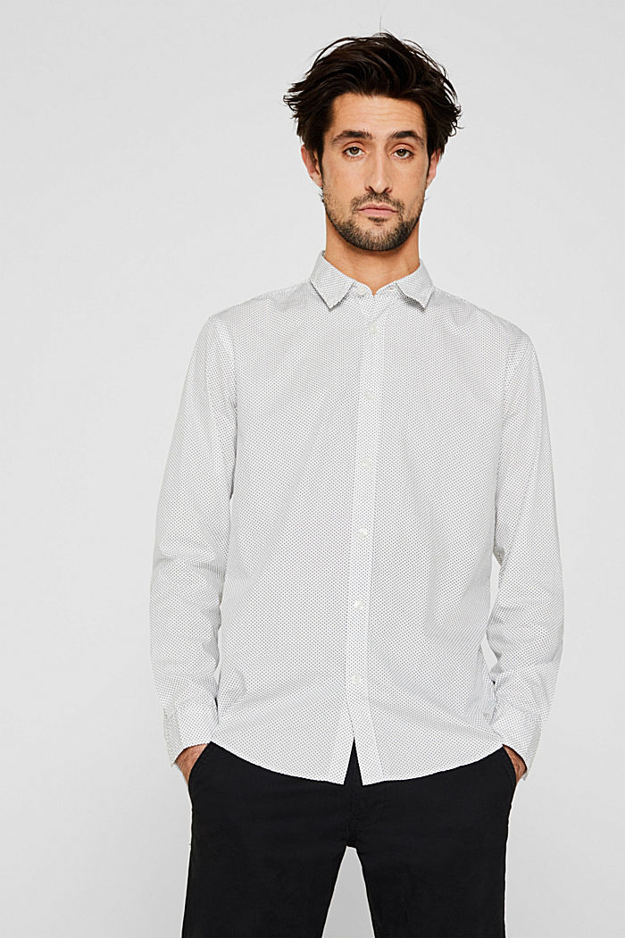 Shirt with micro print, 100% cotton, WHITE, detail image number 0