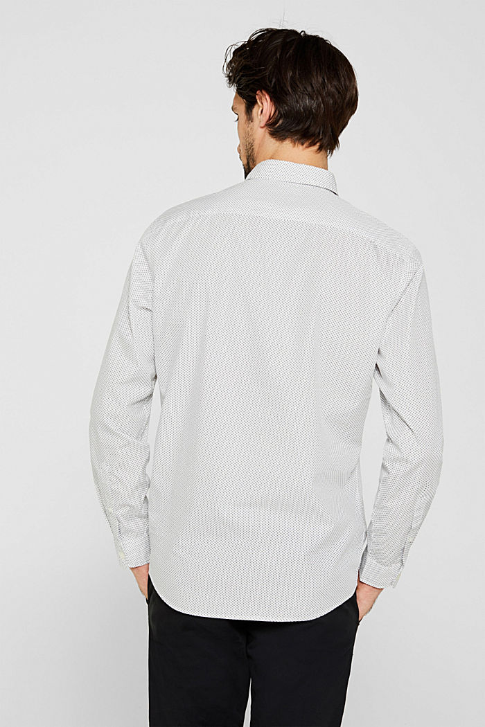 Shirt with micro print, 100% cotton, WHITE, detail image number 3