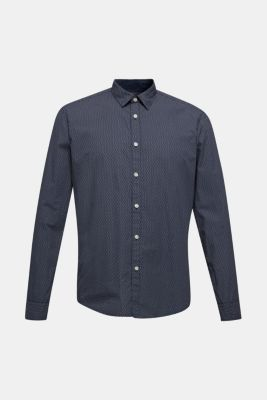 Shirt with micro print, 100% cotton, BLUE 4, detail