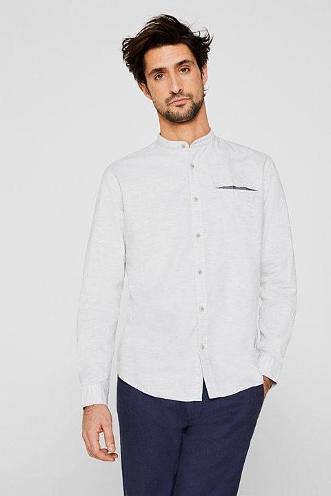 Shirt with band collar, 100% cotton
