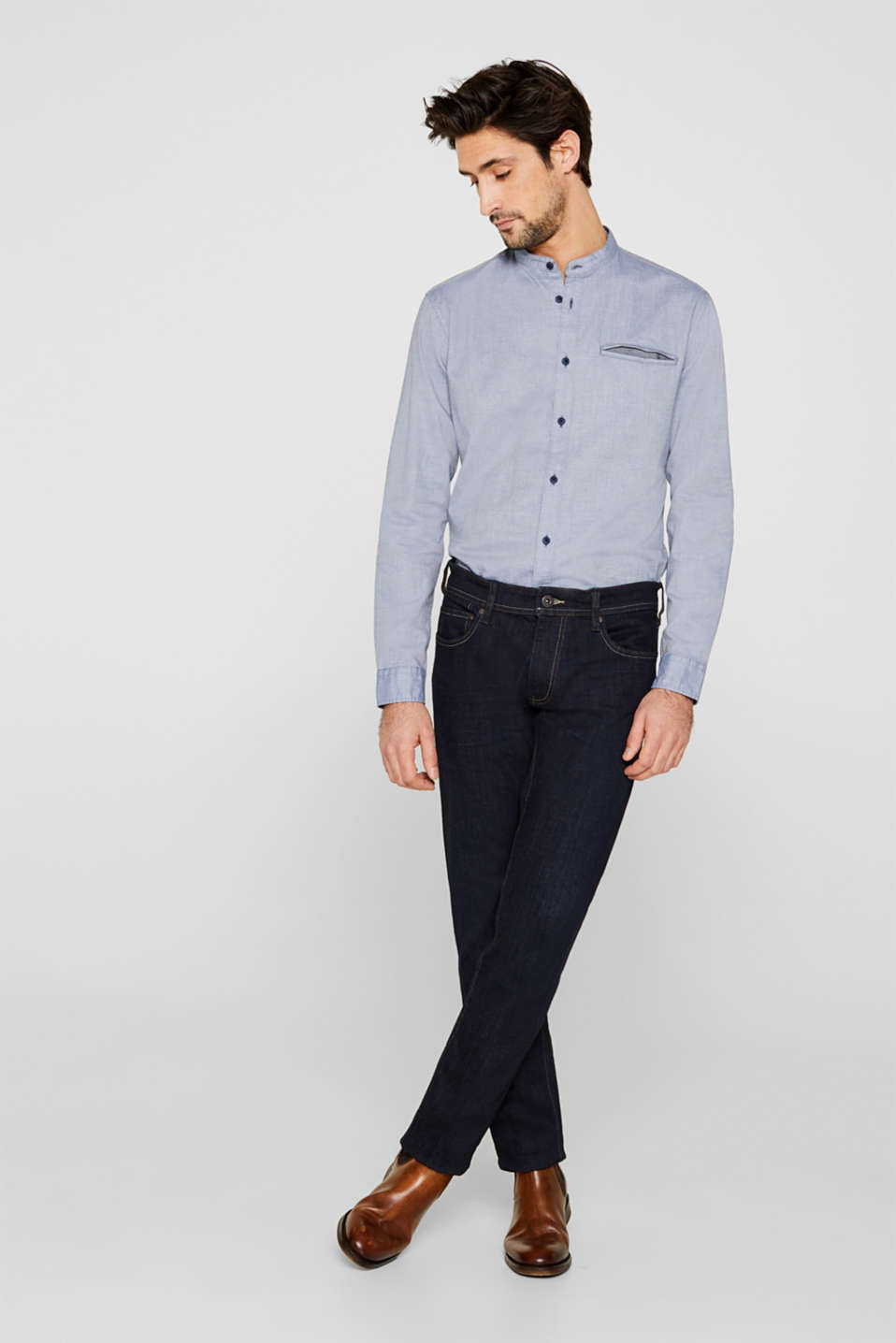 Shirt with band collar, 100% cotton, GREY BLUE 5, detail image number 0