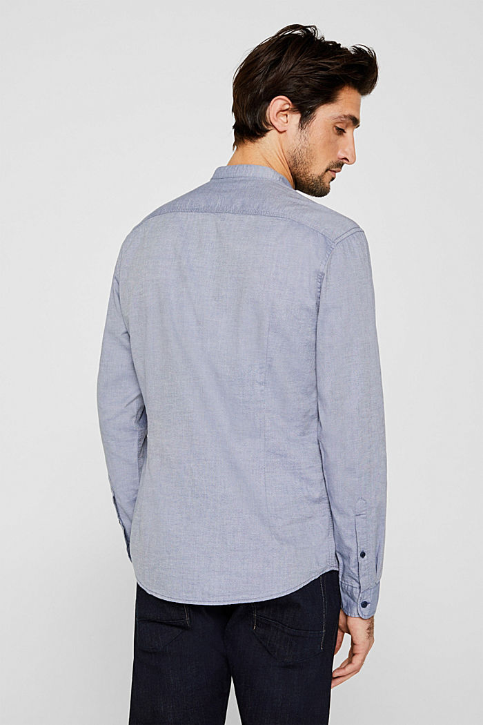 Shirt with band collar, 100% cotton, GREY BLUE, detail image number 3