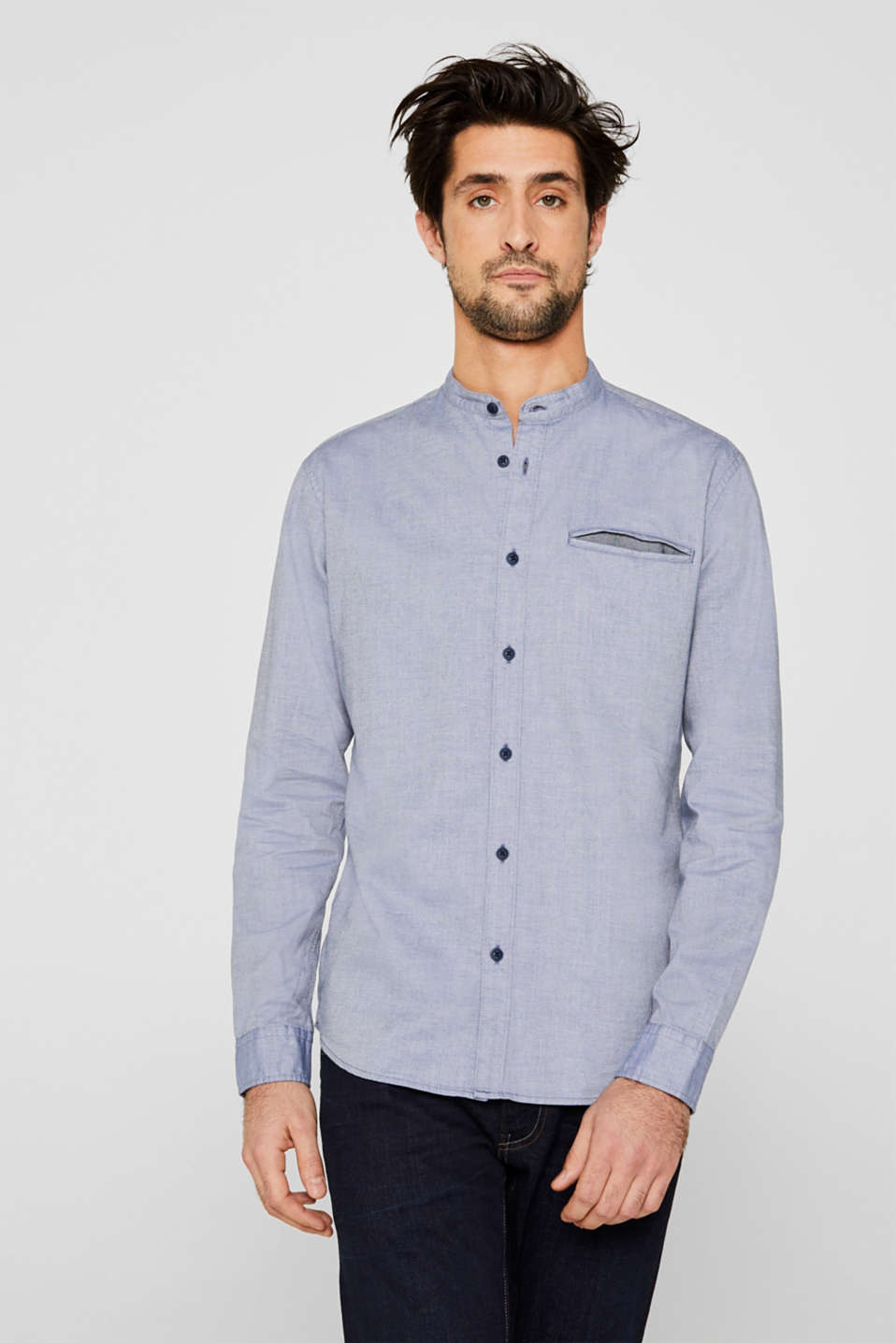Shirt with band collar, 100% cotton, GREY BLUE 5, detail image number 5