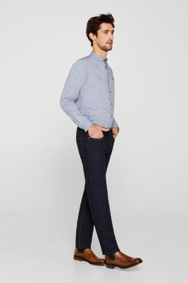 Shirt with band collar, 100% cotton, GREY BLUE 5, detail