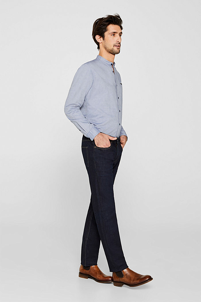 Shirt with band collar, 100% cotton, GREY BLUE, detail image number 1