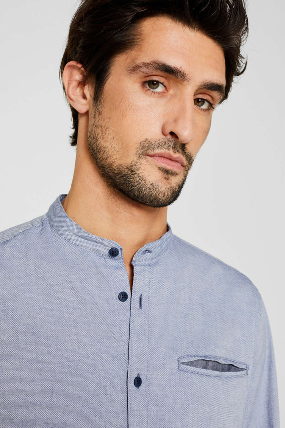 Shirt with band collar, 100% cotton, GREY BLUE 5, detail image number 2