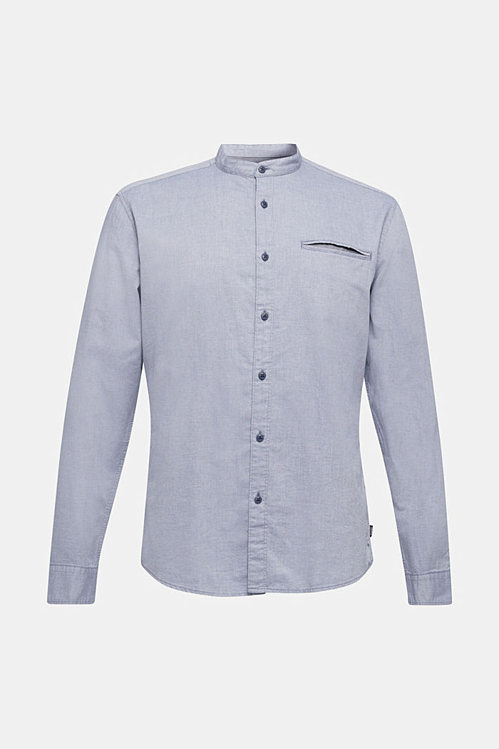 Shirt with band collar, 100% cotton, GREY BLUE, detail image number 7