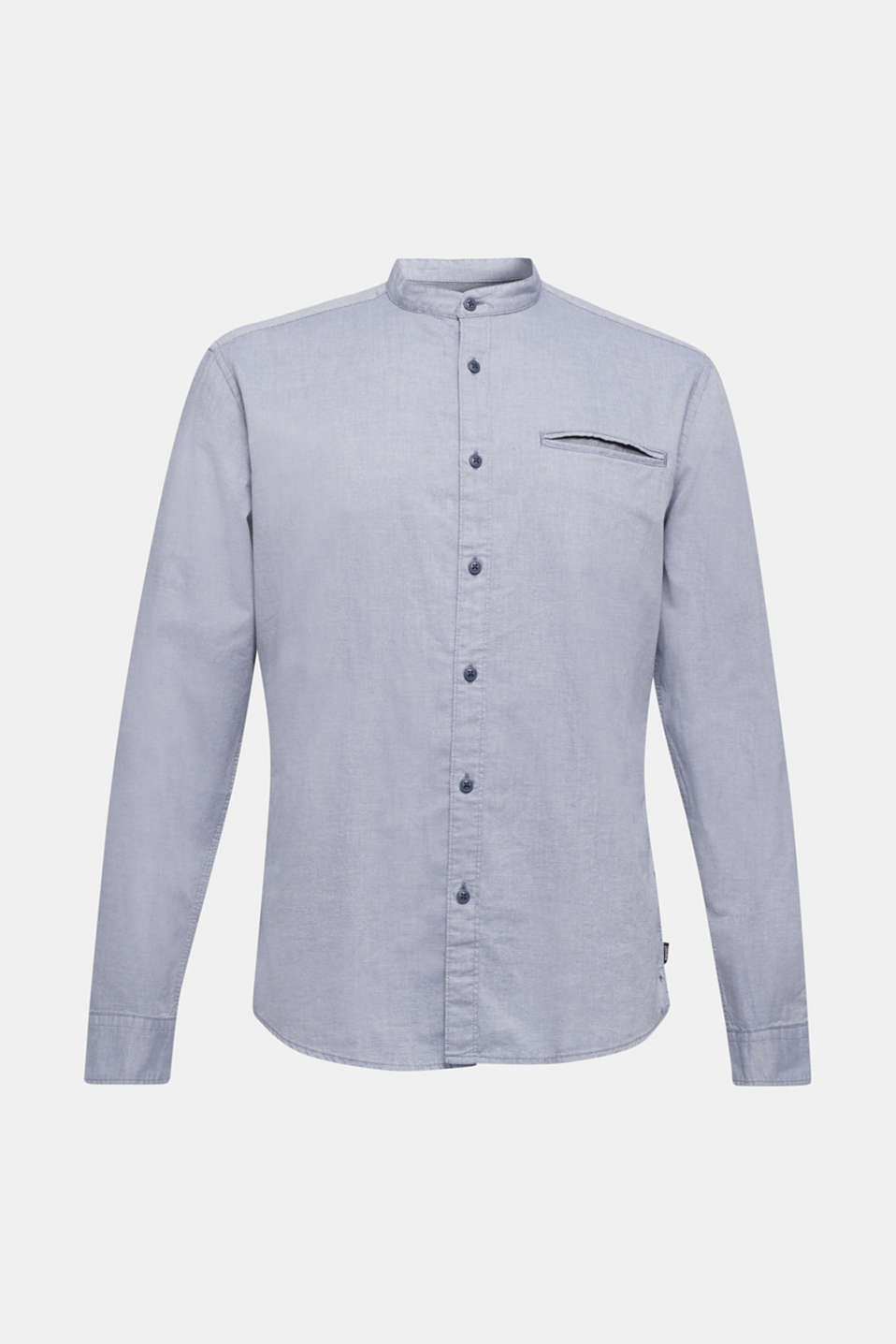 Shirt with band collar, 100% cotton, GREY BLUE 5, detail image number 7