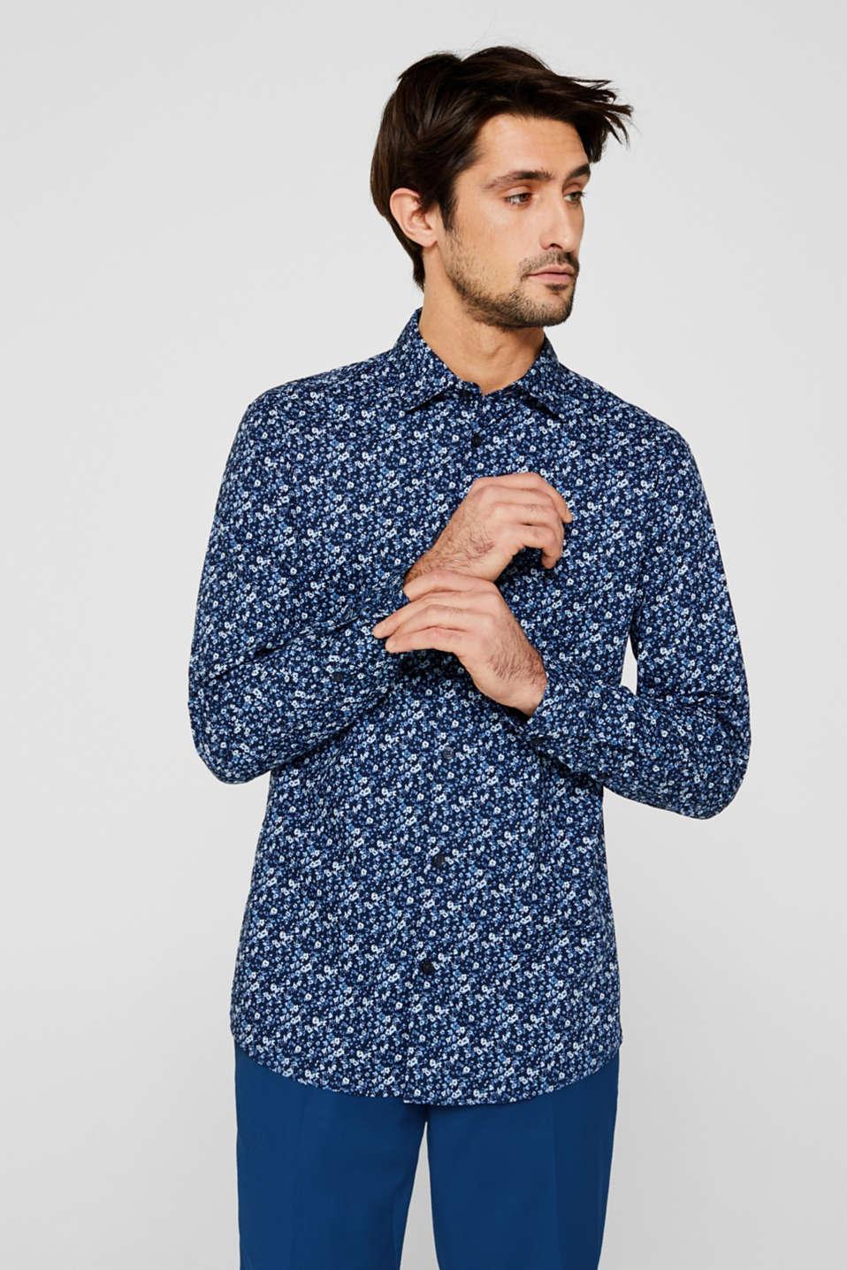 Premium shirt with a floral print, 100% cotton, DARK BLUE 4, detail image number 0