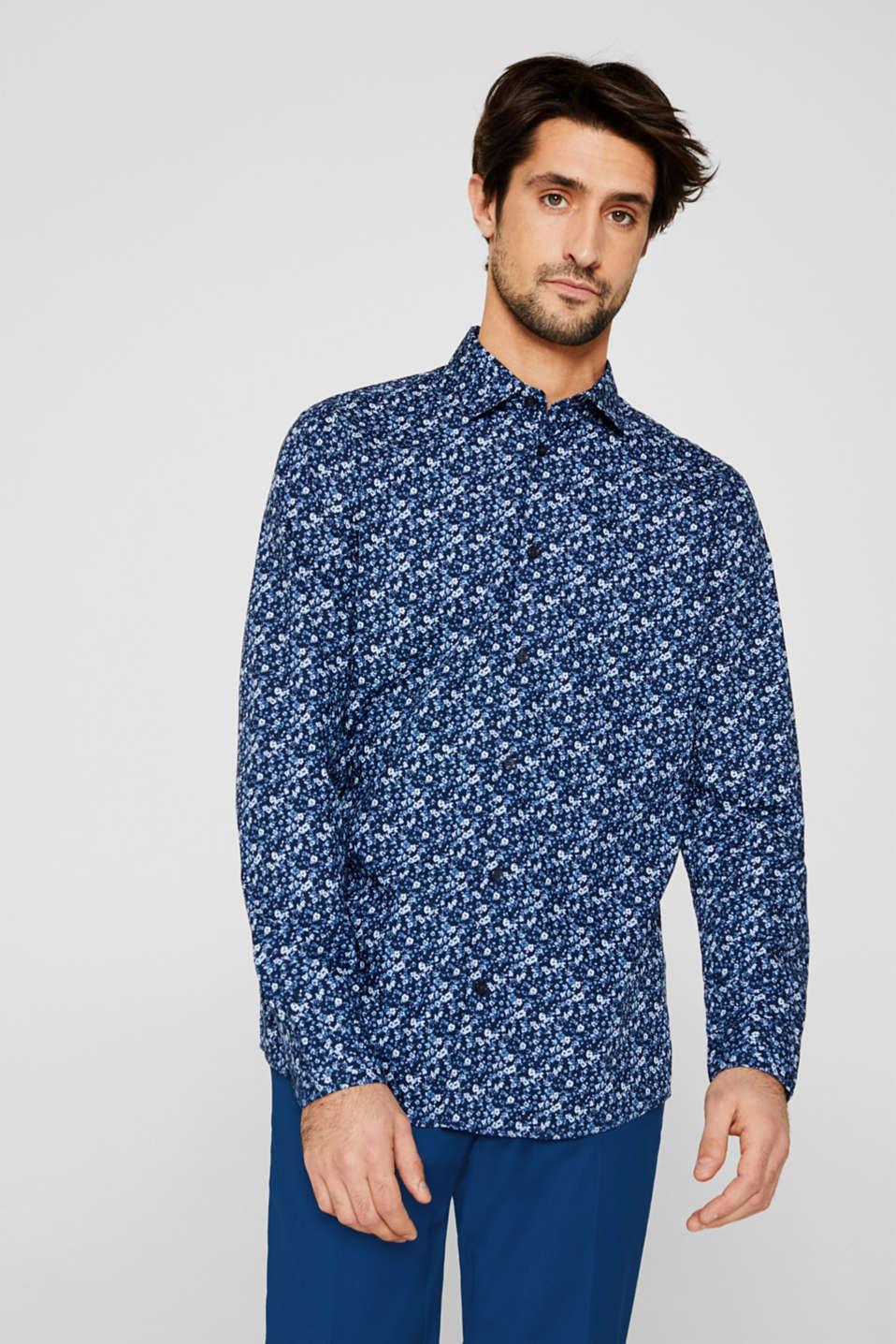 Premium shirt with a floral print, 100% cotton, DARK BLUE 4, detail image number 5