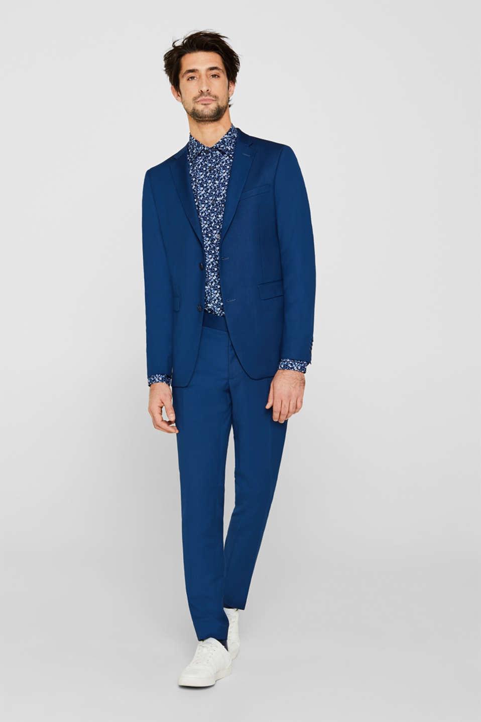 Premium shirt with a floral print, 100% cotton, DARK BLUE 4, detail image number 1