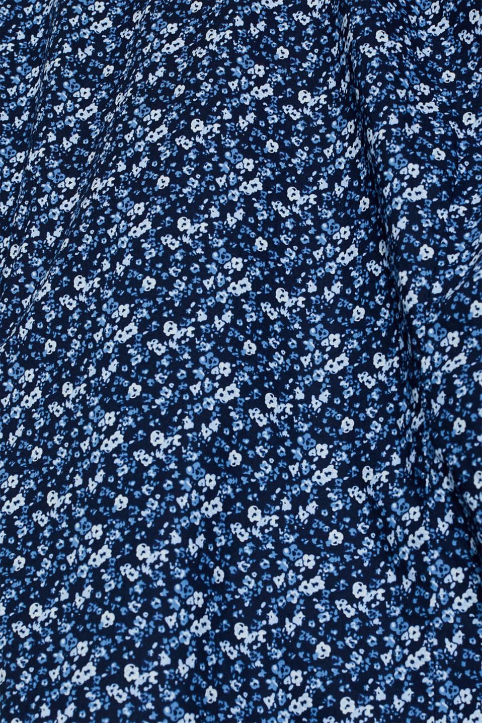 Premium shirt with a floral print, 100% cotton, DARK BLUE 4, detail image number 4