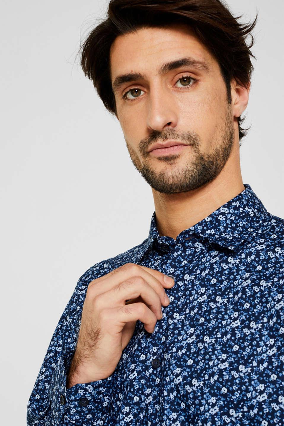 Premium shirt with a floral print, 100% cotton, DARK BLUE 4, detail image number 6