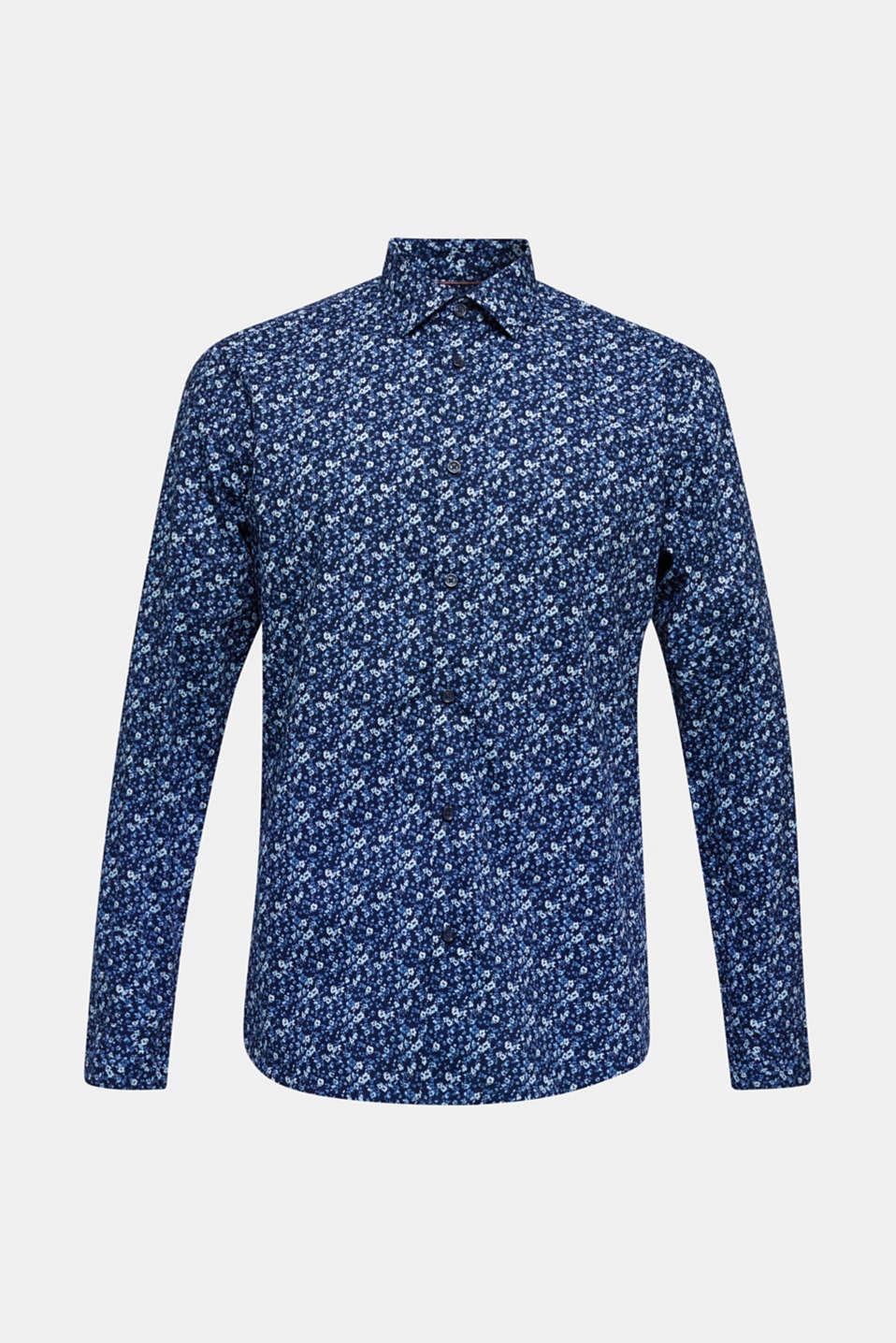 Premium shirt with a floral print, 100% cotton, DARK BLUE 4, detail image number 7