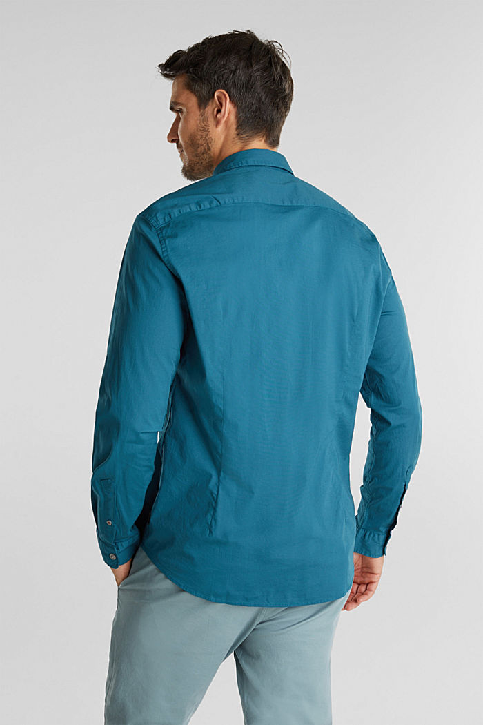 Shirt made of stretch cotton, TEAL GREEN, detail image number 3