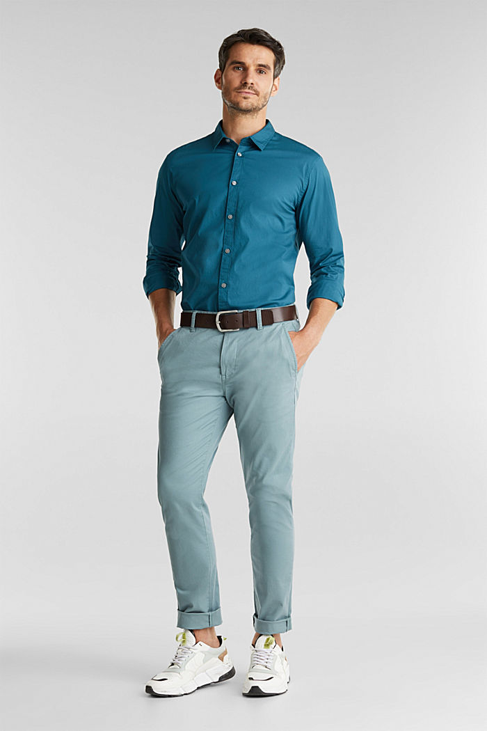 Shirt made of stretch cotton, TEAL GREEN, detail image number 1