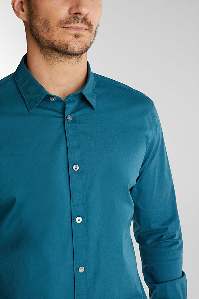 Shirt made of stretch cotton, TEAL GREEN, detail image number 2