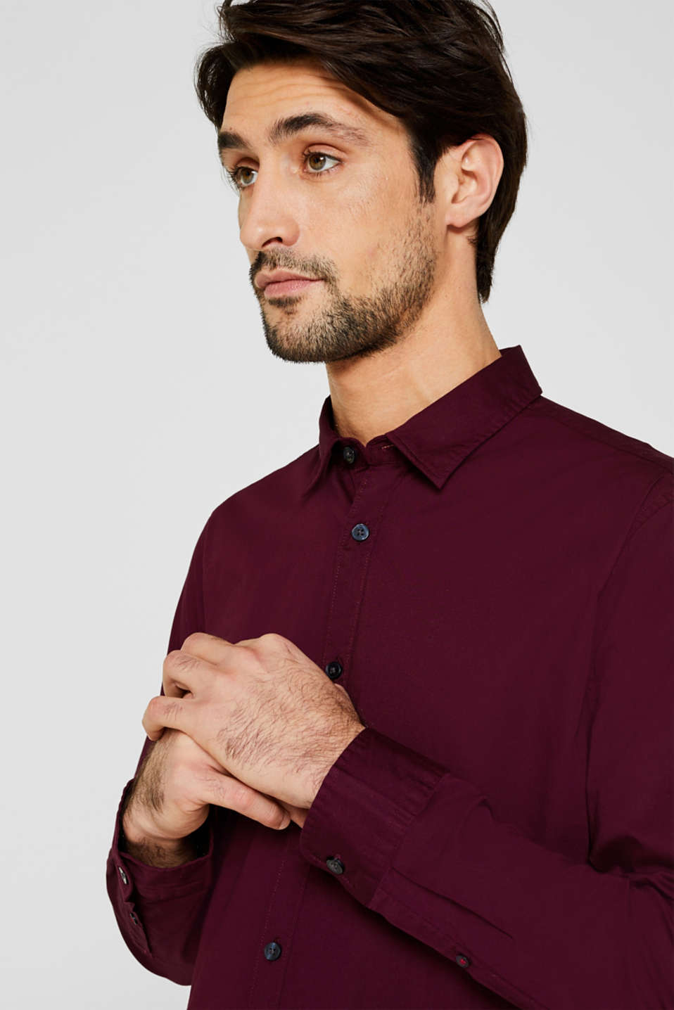 Shirt made of stretch cotton, BORDEAUX RED, detail image number 2