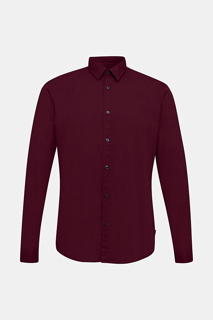 Shirt made of stretch cotton, BORDEAUX RED, detail image number 0
