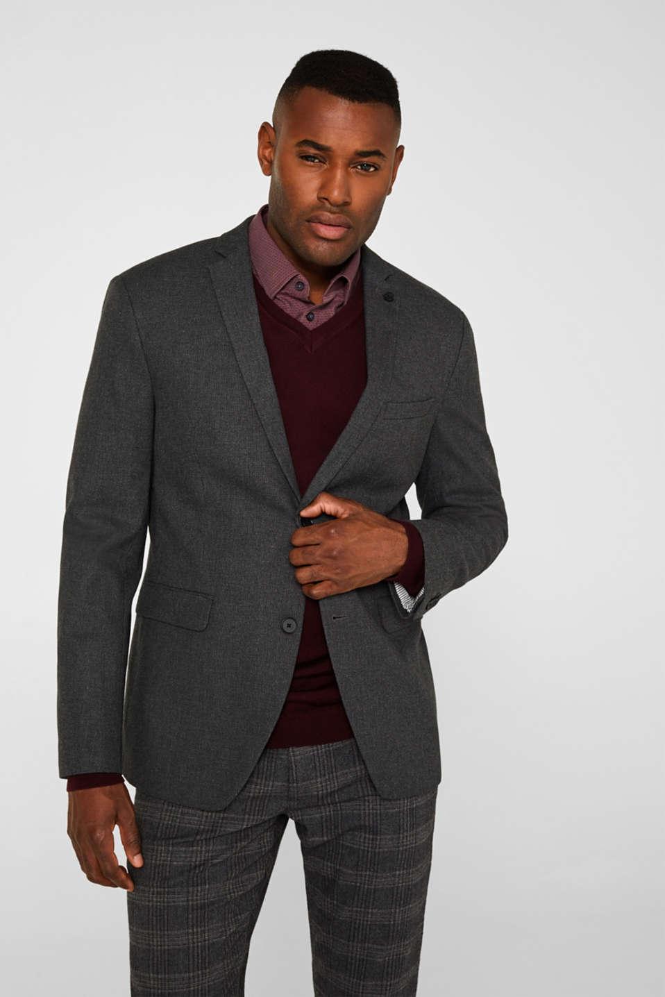 Tailored jacket made of blended cotton, DARK GREY 5, detail image number 0