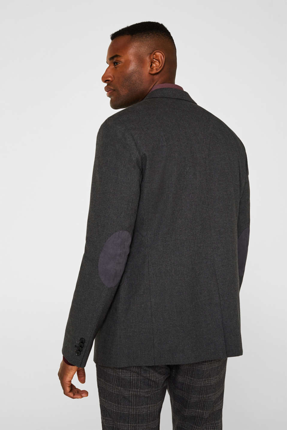 Tailored jacket made of blended cotton, DARK GREY 5, detail image number 3