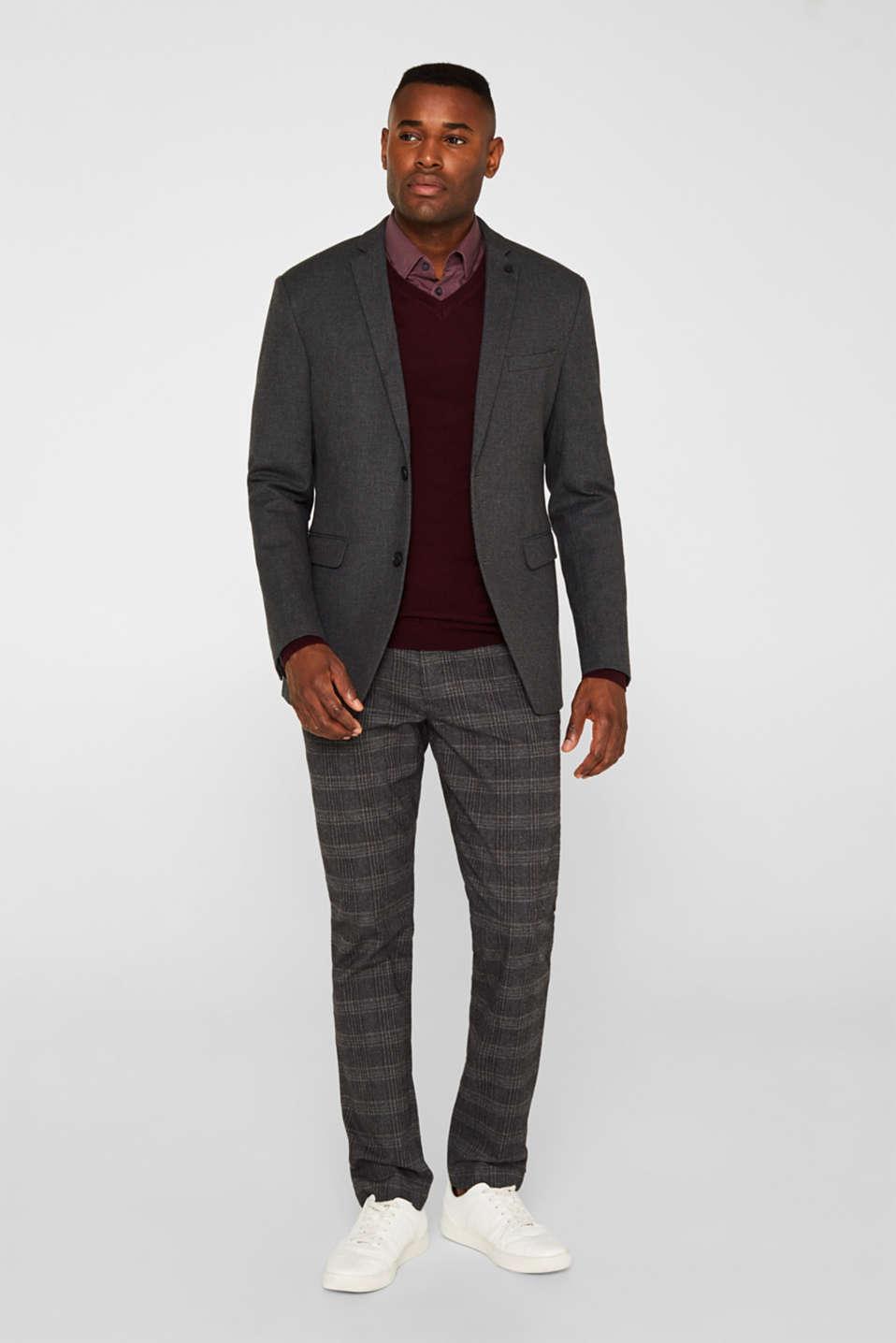 Tailored jacket made of blended cotton, DARK GREY 5, detail image number 1
