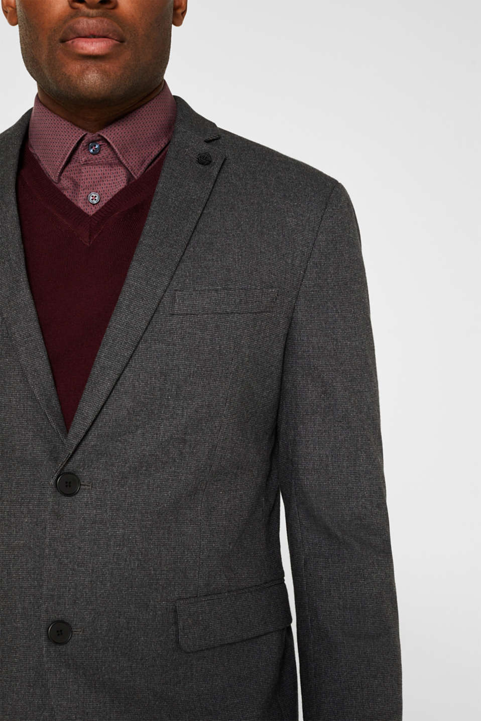Tailored jacket made of blended cotton, DARK GREY 5, detail image number 2