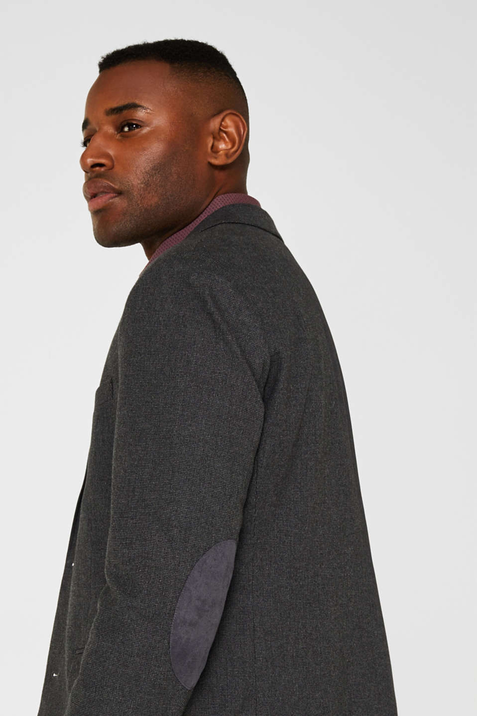 Tailored jacket made of blended cotton, DARK GREY 5, detail image number 5