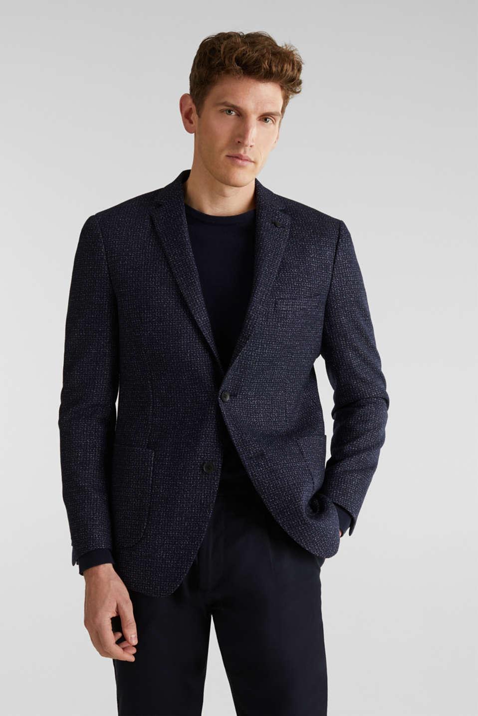 Blended wool: melange jacket, DARK BLUE 5, detail image number 0