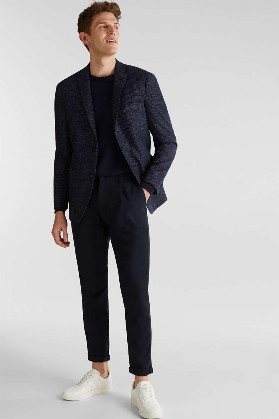 Blended wool: melange jacket, DARK BLUE 5, detail image number 1