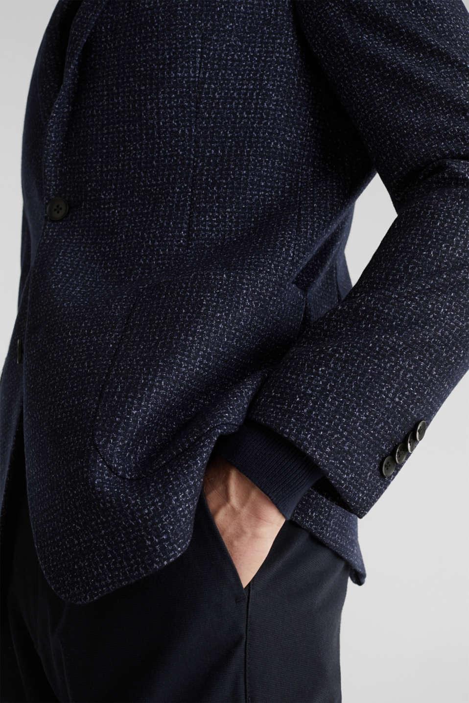 Blended wool: melange jacket, DARK BLUE 5, detail image number 2
