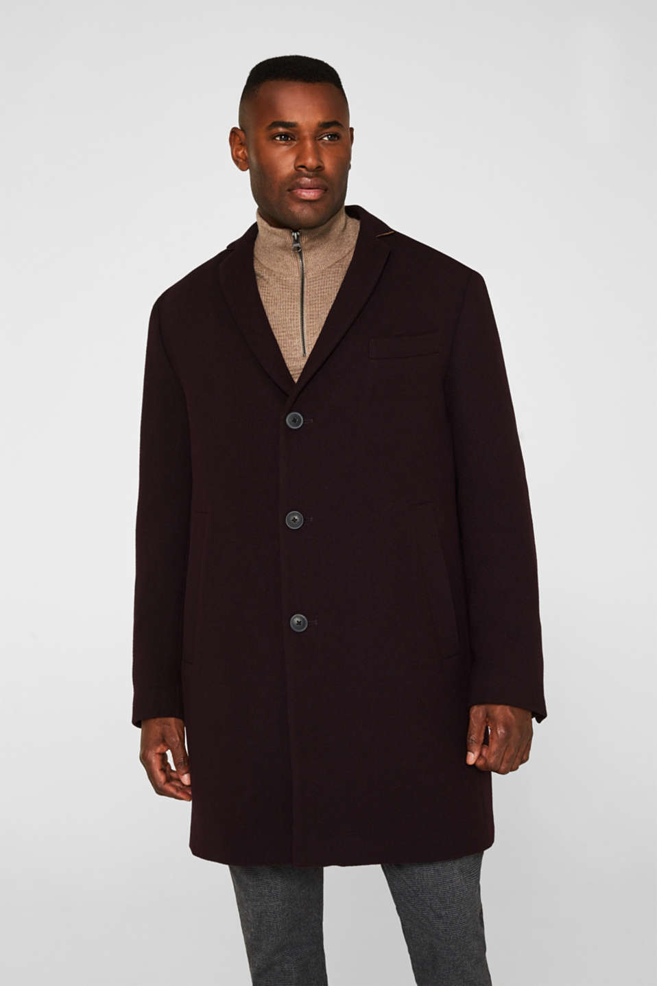 Wool blend: Padded coat, BORDEAUX RED, detail image number 0