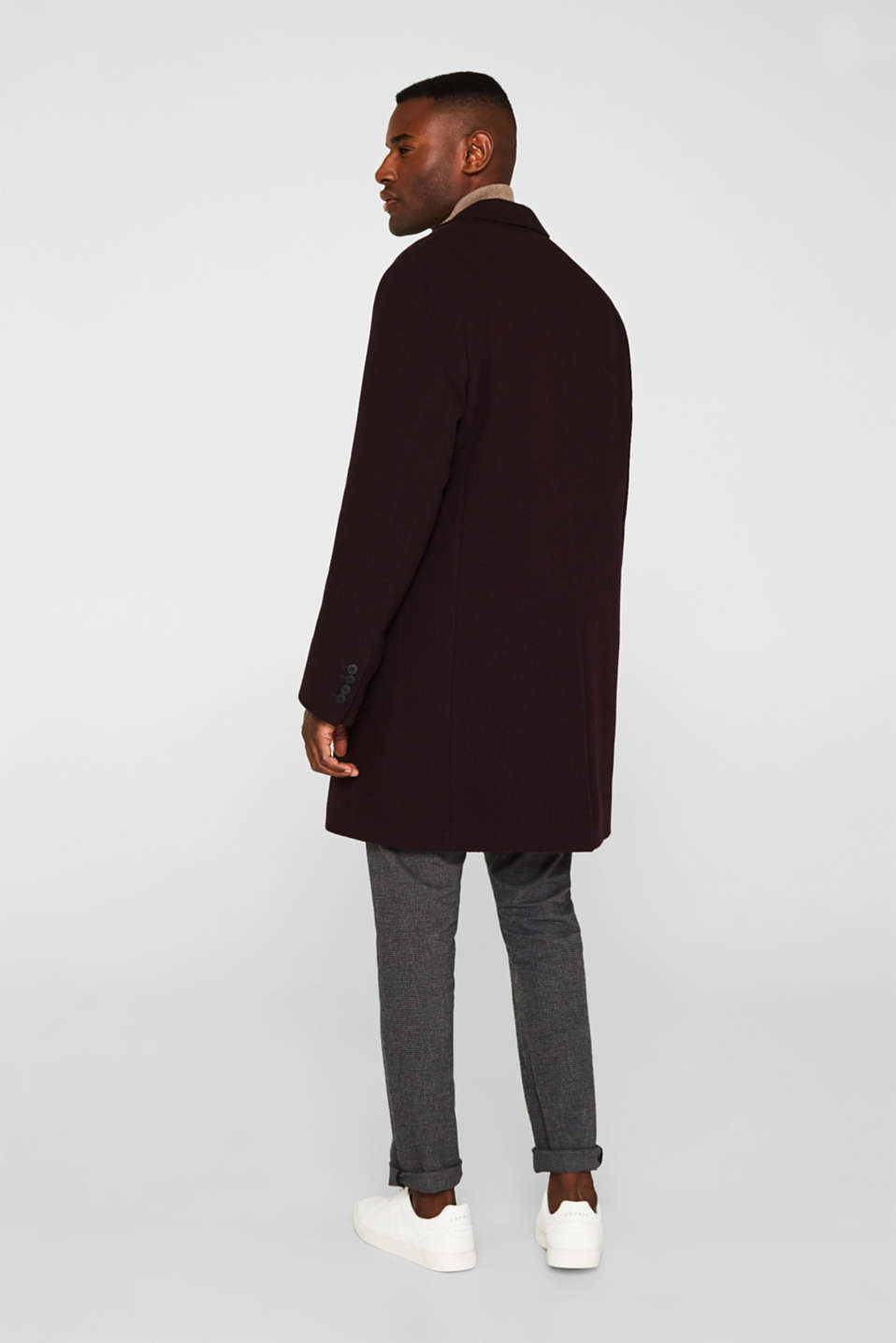 Wool blend: Padded coat, BORDEAUX RED, detail image number 3