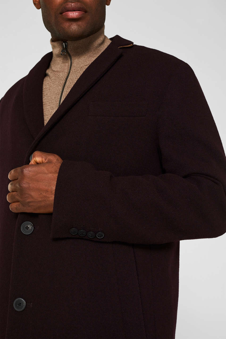 Wool blend: Padded coat, BORDEAUX RED, detail image number 2