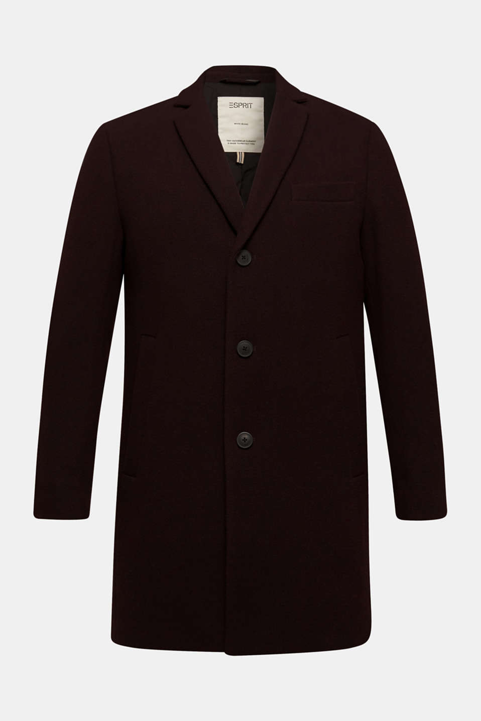 Wool blend: Padded coat, BORDEAUX RED, detail image number 7